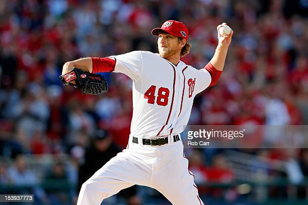 Ross Detwiler of the Washington Nationals throws a pitch against the St Louis Cardinals during Game Four of the National League Division Series at...