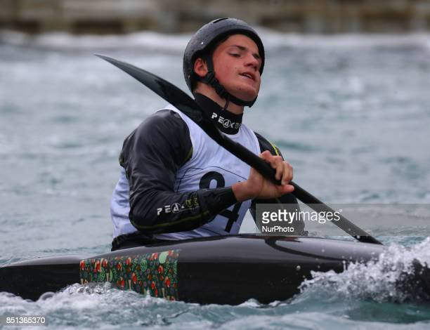 Ross Dixon of Lee Valley PC J16 competes in Kayak Men during the British Canoeing 2017 British Open Slalom Championships at Lee Valley White Water...
