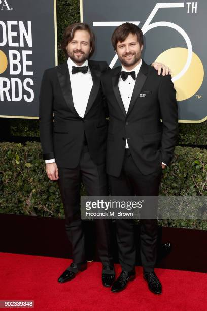 Ross Duffer and Matt Duffer attend The 75th Annual Golden Globe Awards at The Beverly Hilton Hotel on January 7 2018 in Beverly Hills California
