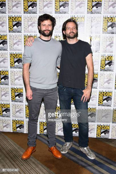 Ross Duffer and Matt Duffer attend the Stranger Things press conference at ComicCon International 2017 on July 22 2017 in San Diego California