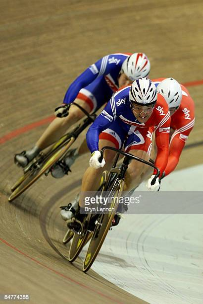 Ross Edgar of Great Britain leads the men's Team Sprint during day one of the UCI Track World Cup V on February 13, 2009 in Copenhagen, Denmark.