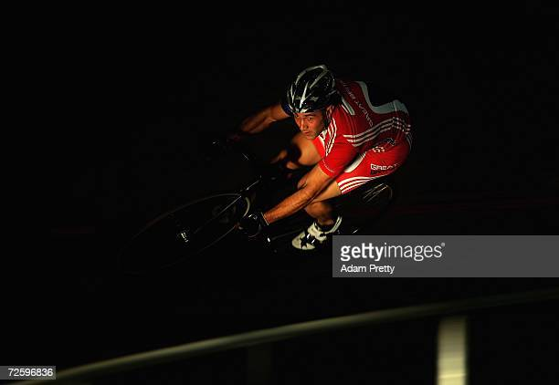 Ross Edgar of Great Britain warms up for the mens sprint during day two of the 2006 UCI Track Cycling World Cup at the Dunc Gray Velodrome November...