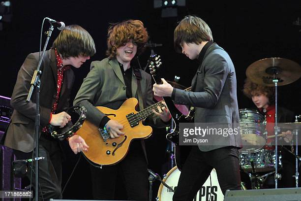 Ross Farrelly Pete O'Hanlon Josh McClorey and Evan Walsh of The Strypes perform on the John Peel stage during day 3 of the 2013 Glastonbury Festival...