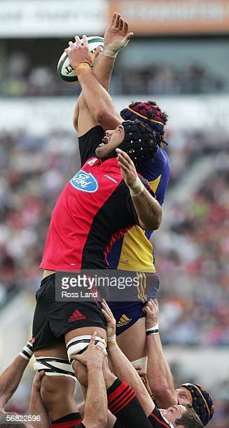 Ross Filipo of the Crusaders reaches for the lineout ball during the Rd 1 Super 14 rugby match between the Crusaders and the Highlanders at Jade...