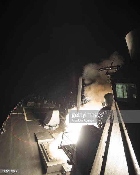 USS Ross fires a tomahawk land attack missile April 7 2017 The US on Thursday fired 59 Tomahawk missiles at a Syrian military airbase American...