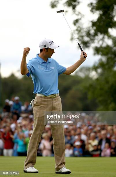 Ross Fisher of England celebrates as he holes the winning putt on the 18th green during the final round of the 3 Irish Open at Killarney Golf and...