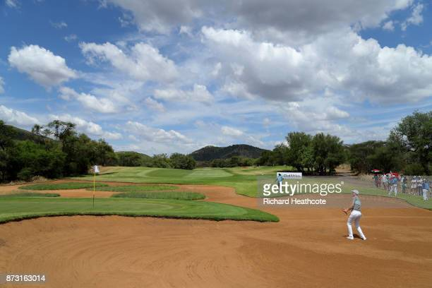 Ross Fisher of England hits from a bunker on the 14th hole during the final round of the Nedbank Golf Challenge at Gary Player CC on November 12 2017...