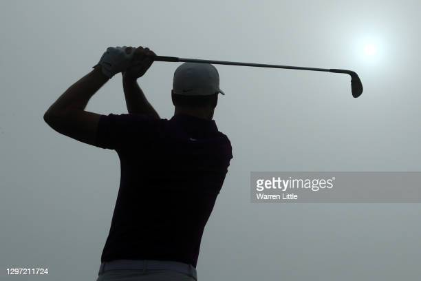 Ross Fisher of England is seen on the driving range during practice ahead of the Abu Dhabi HSBC Championship at Abu Dhabi Golf Club on January 19,...