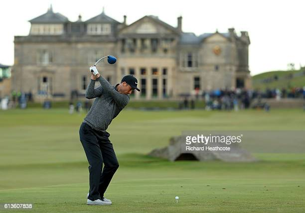 Ross Fisher of England plays a driver off the 18th tee during the final round of the Alfred Dunhill Links Championship at The Old Course on October 9...