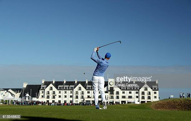 Ross Fisher of England plays his second shot on the 18th hole during the third round of the Alfred Dunhill Links Championship at Carnoustie Golf...