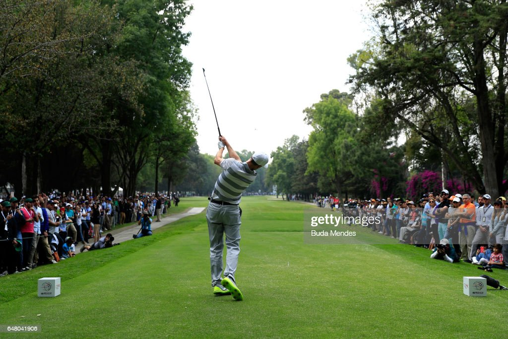 Ross Fisher of England plays his tee shot on the ninth hole during the third round of the World Golf Championships Mexico Championship at Club De Golf Chapultepec on March 4, 2017 in Mexico City, Mexico.