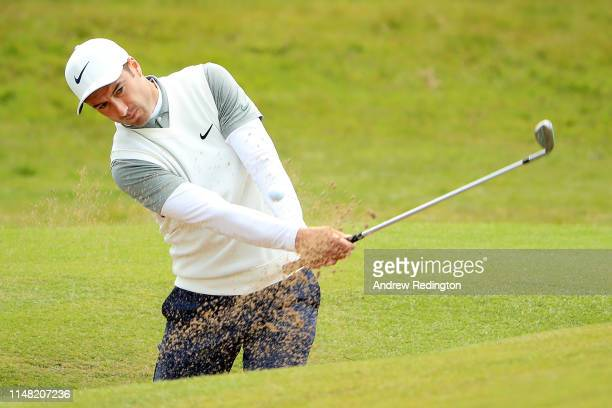 Ross Fisher of England plays his third shot on the 9th hole during Day Two of the Betfred British Masters at Hillside Golf Club on May 10 2019 in...