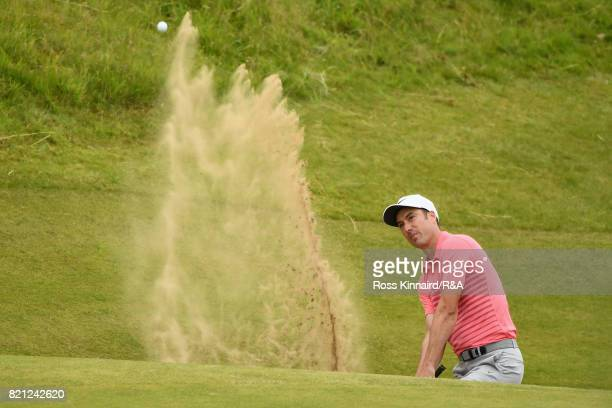 Ross Fisher of England plays out of a bunker on the 17th hole during the final round of the 146th Open Championship at Royal Birkdale on July 23 2017...
