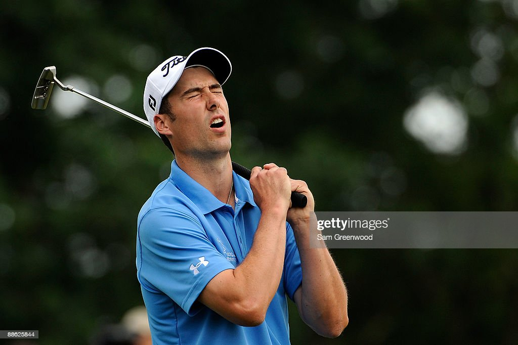 Ross Fisher of England reacts to his missed putt on the 12th hole during the continuation of the final round of the 109th U.S. Open on the Black Course at Bethpage State Park on June 22, 2009 in Farmingdale, New York.