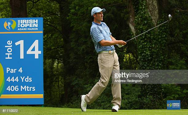 Ross Fisher of England tees off on the 14th hole during the second round of the Irish Open on May 16 2008 at the Adare Manor Hotel and Golf Resort in...