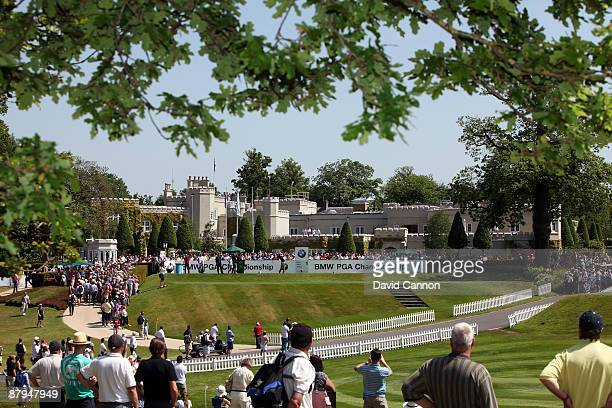 Ross Fisher of England tees off on the 1st hole during the Final Round of the BMW PGA Championship at Wentworth on May 24, 2009 in Virginia Water,...