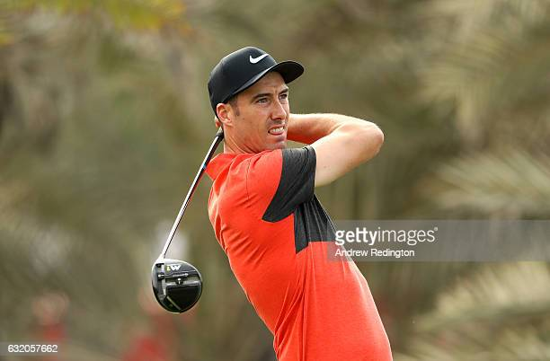Ross Fisher of England tees off on the 9th during the first round of the Abu Dhabi HSBC Championship at the Abu Dhabi Golf Club on January 19 2017 in...