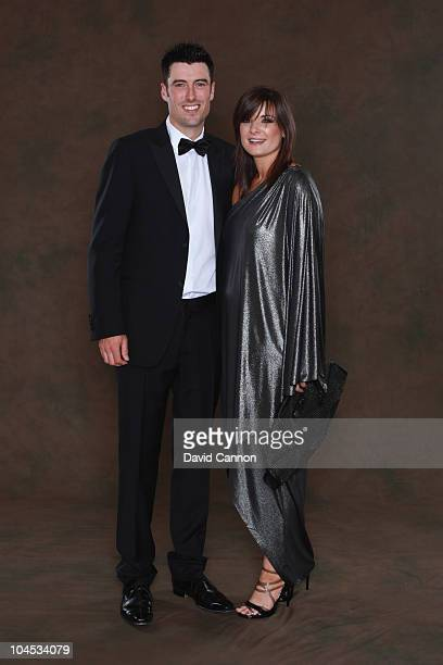 Ross Fisher of the European Ryder Cup team poses with his wife Jo prior to the 2010 Ryder Cup Dinner at the Celtic Manor Resort on September 29, 2010...