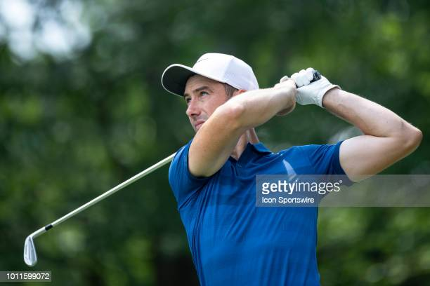 Ross Fisher plays his shot from the fifth tee during the final round of the World Golf Championships - Bridgestone Invitational on August 5, 2018 at...