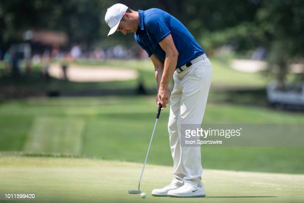 Ross Fisher putts on the fifth green during the final round of the World Golf Championships - Bridgestone Invitational on August 5, 2018 at the...