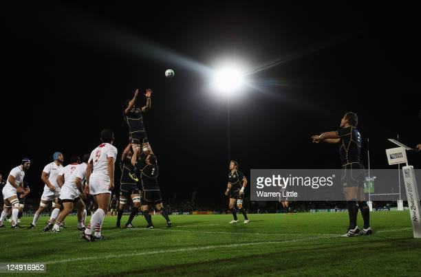Ross Ford of Scotland throws in the line out during the IRB 2011 Rugby World Cup Pool B match between Scotland and Georgia at Rugby Park on September...