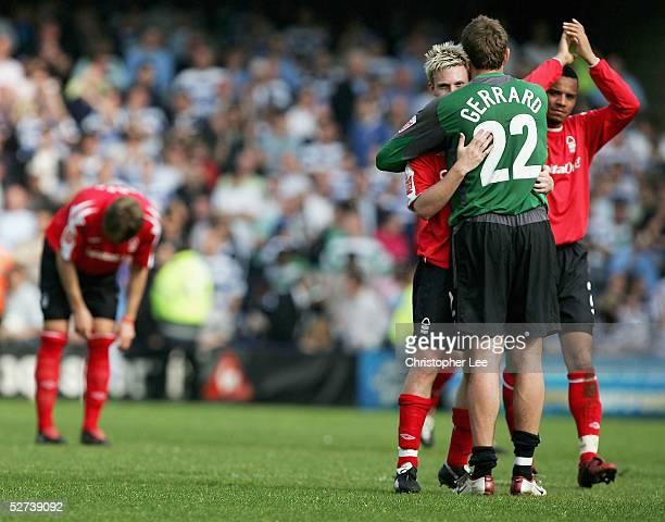 Ross Gardner of Queens Park Rangers consoles Paul Gerrard of Nottingham Forest after Forest lost the Coca-Cola Championship match between Queens Park...