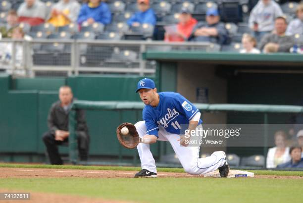 Ross Gload of the Kansas City Royals fields a throw to first base against the Detroit Tigers at Kauffman Stadium in Kansas City Missouri on May 6...