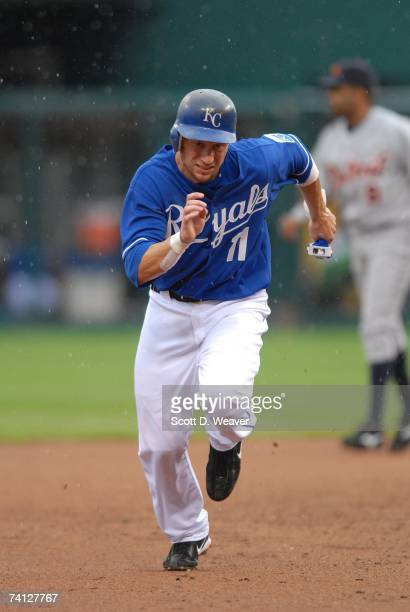 Ross Gload of the Kansas City Royals runs to third base against the Detroit Tigers at Kauffman Stadium in Kansas City Missouri on May 6 2007 The...
