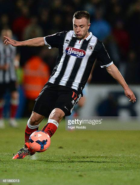 Ross Hannah of Grimsby Town during their FA Cup First Round Replay against Scunthorpe United at Glanford Park on November 19 2013 in Scunthorpe...