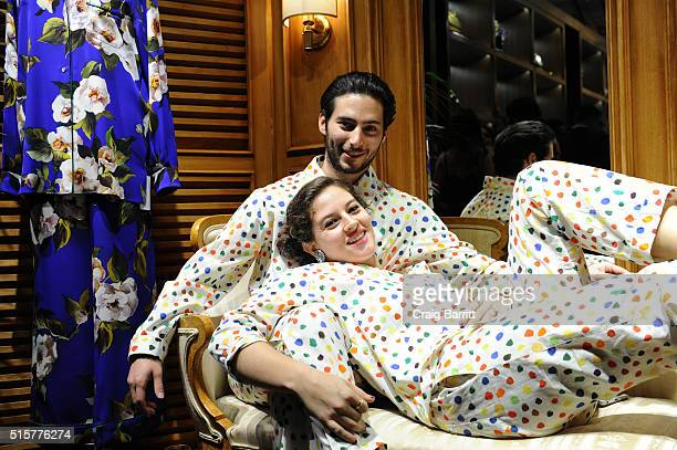 Ross Harrow and baker Amirah Kassem attend Dolce Gabbana pyjama party at 5th Avenue Boutique on March 15 2016 in New York City
