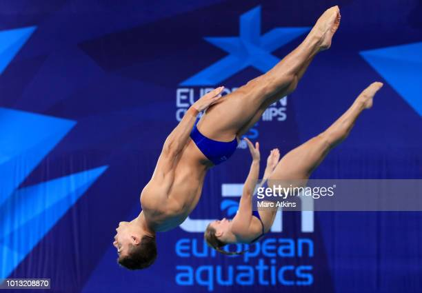 Ross Haslam and Grace Reid of Great Britain compete in the Mixed Synchronised 3m Springboard final during the diving on Day seven of the European...