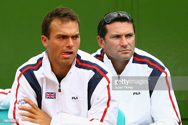 Ross Hutchins and Roger Draper CEO of the LTA looks on during the Davis Cup World Group match between Argentina and Great Britain at the Parque Roca...