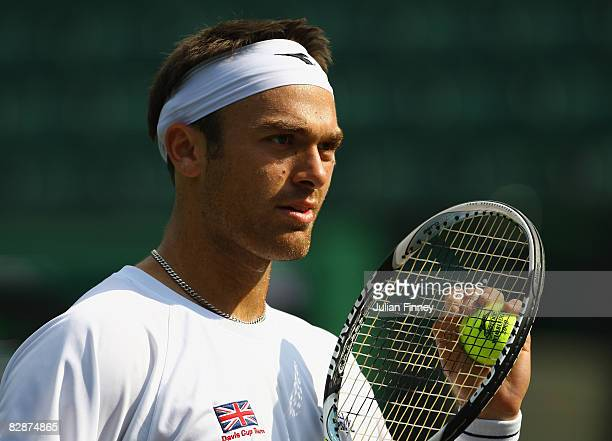 Ross Hutchins of Great Britain looks on during a practice session for the Davis Cup World Group Playoff tie between Great Britain and Austria at the...