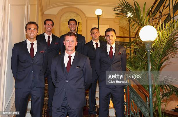 Ross HutchinsAndy MurrayJames WardDan EvansColin Fleming and team captain Leon Smith of Great Britain pose for a team photograph prior to their Davis...