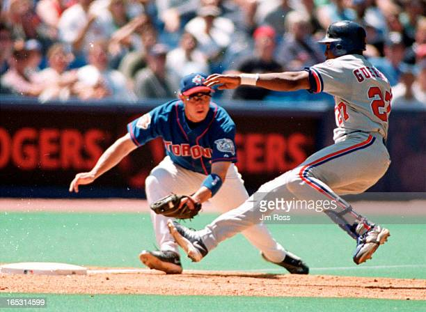 Ross July 8 2001 Toronto Blue Jays third baseman Luis Lopez tags out Montreal Expos outfielder Vladimir Gurrero at thirdbase in the 5th inning The...