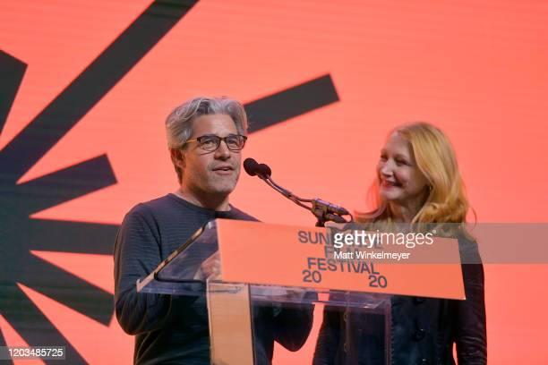 Ross Kauffman and Patricia Clarkson speak onstage during the 2020 Sundance Film Festival Awards Night Ceremony at Basin Recreation Field House on...