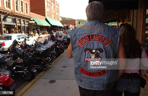 Ross Kramer of Saint Paul MN wears his Road Lawyers motorcycle club colors in Deadwood SD west of Sturgis during the 61st annual Sturgis Motorcycle...