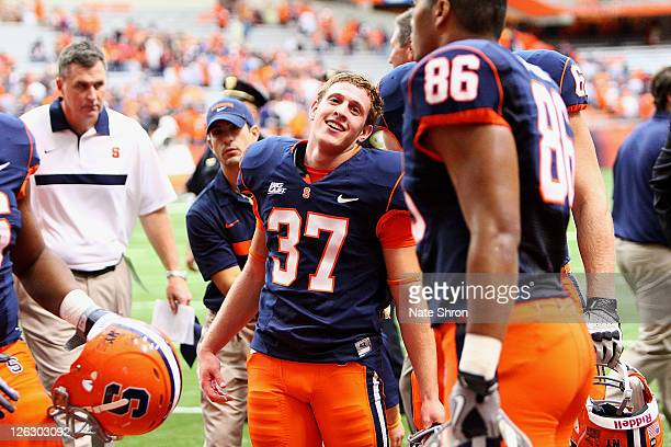 Ross Krautman the kicker for the Syracuse Orange with the game winning overtime kick against the Toledo Rockets during the game on September 24, 2011...