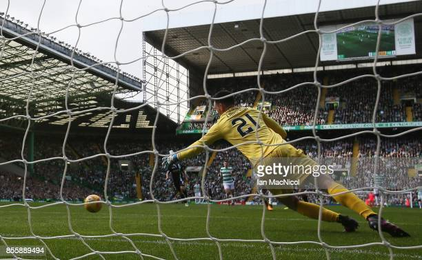 Ross Laidlaw of Hibernian is beaten as Callum McGregor of Celtic scores the opening goal during the Ladbrokes Scottish Premiership match between...