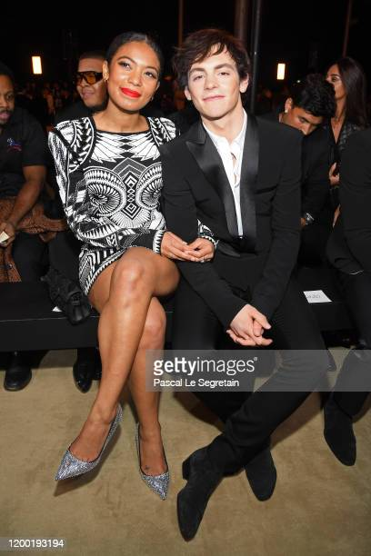 Ross Lynch and Jaz Sinclair attend the Balmain Menswear Fall/Winter 20202021 show as part of Paris Fashion Week on January 17 2020 in Paris France