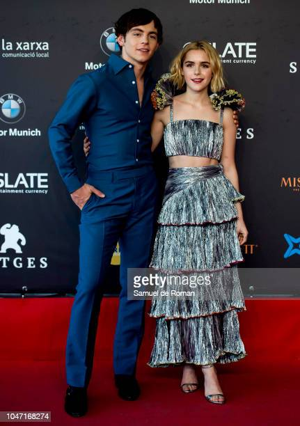 Ross Lynch and Kiernan Shipka attend the red carpet photocall of Netflix's 'Chilling Adventures of Sabrina' at Auditorio Melia on October 7 2018 in...