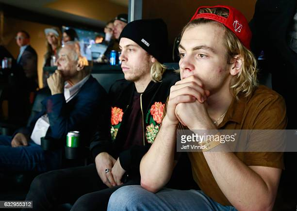 Ross Lynch and Riker Lynch watch the 2017 Coors Light NHL AllStar Skills Competition at Staples Center on January 28 2017 in Los Angeles California