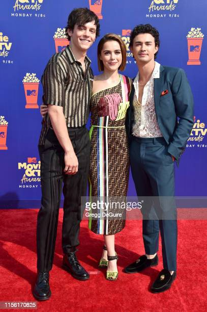 Ross Lynch Kiernan Shipka and Gavin Leatherwood attend the 2019 MTV Movie and TV Awards at Barker Hangar on June 15 2019 in Santa Monica California
