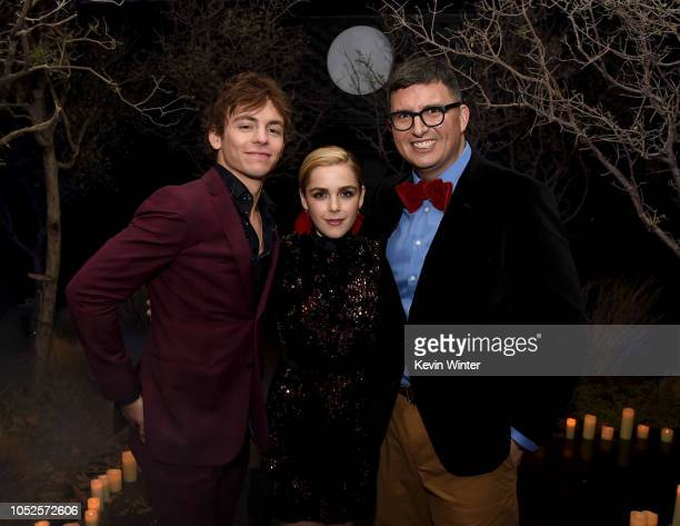 Ross Lynch Kiernan Shipka and Roberto AguirreSacasa attend the after party for the premiere of Netflix's Chilling Adventures Of Sabrina at the...