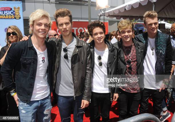Ross Lynch of R5 Brad Simpson James McVey Connor Ball Tristan Evans of The Vamps arrive at the 2014 Radio Disney Music Awards at Nokia Theatre LA...
