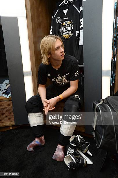 Ross Lynch waits in his stall in the locker room prior to the 2017 NHL AllStar Celebrity Shootout at Staples Center on January 28 2017 in Los Angeles...