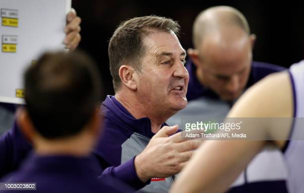 Ross Lyon Senior Coach of the Dockers addresses his players during the 2018 AFL round 18 match between the Essendon Bombers and the Fremantle Dockers...