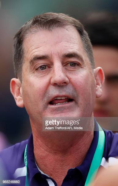 Ross Lyon Senior Coach of the Dockers addresses his players during the 2018 AFL round seven match between the Richmond Tigers and the Fremantle...