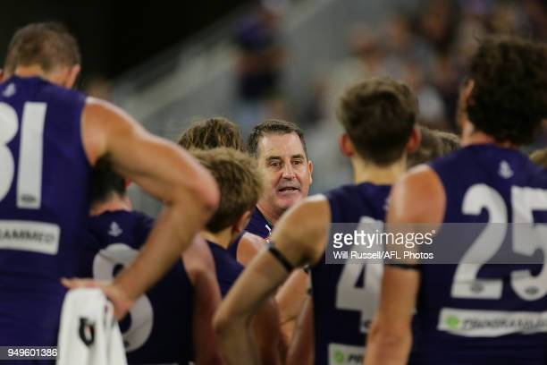 Ross Lyon Senior Coach of the Dockers addresses the players at the quarter time break during the round five AFL match between the Fremantle Dockers...