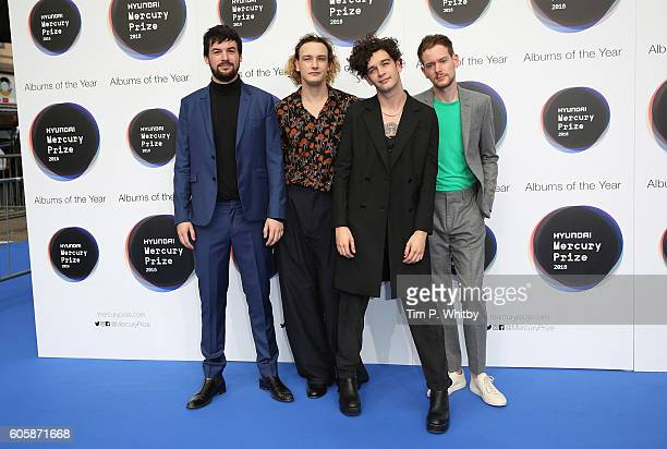 Ross MacDonald George Daniel Matthew Healy and Adam Hann of The 1975 pose for a photo at the Hyundai Mercury Prize 2016 at Eventim Apollo on...